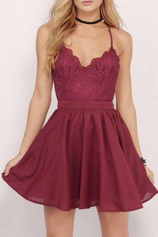 Burgundy Spaghetti Straps Chiffon Short Homecoming Dress with Lace Top,Mini Grad Dress,N330