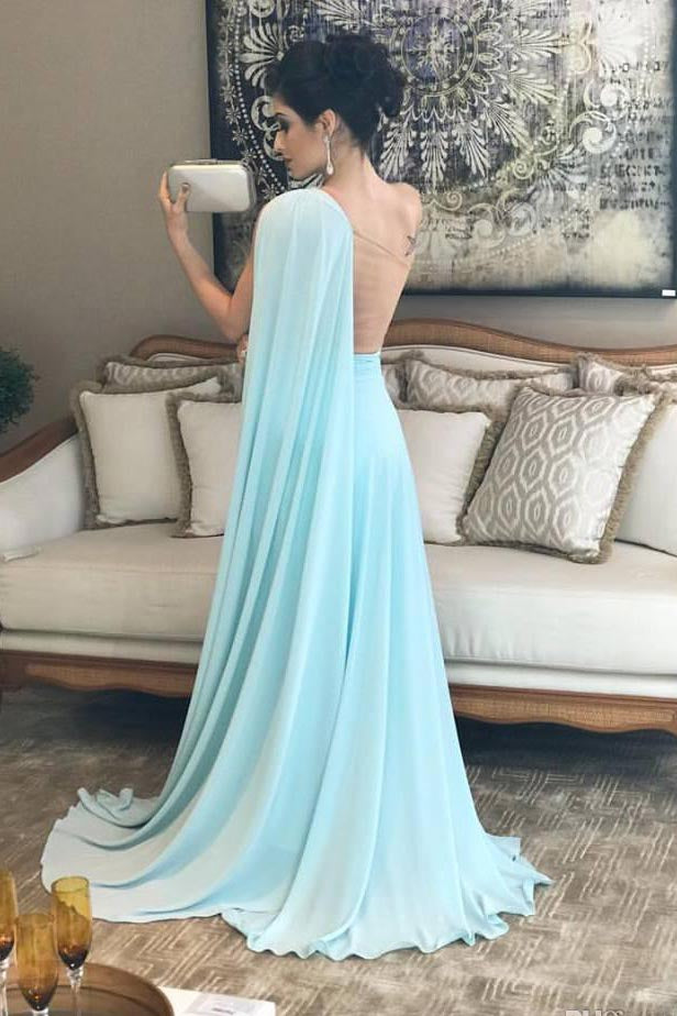 Light Blue One Shoulder Chiffon Formal Dresses Pleats Sheer Illusion Back Prom Gown N825