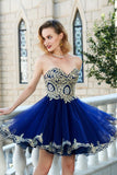 Royal Blue Princess Sweetheart Sleeveless Applique Mini Tulle Homecoming Dresses,N750