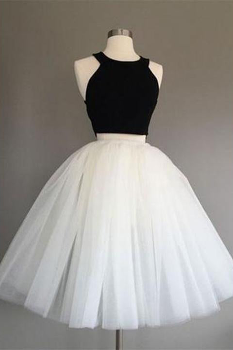 Two Piece Knee Length Ivory Tulle Dress with Black Top, Simple Cheap Prom Dresses N1079