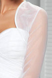 Simple Sheer Organza Long Sleeve Weeding Bolero Shrug, Wedding Jacket JK005