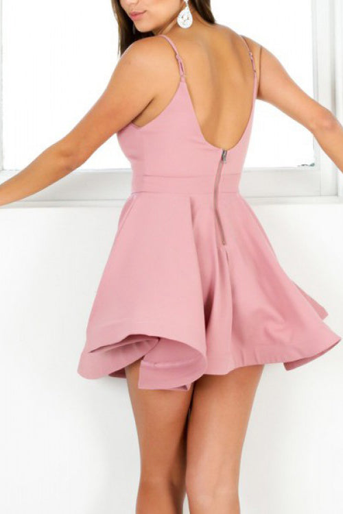 Simple V Neck Sleeveless Homecoming Dress, Cute Mini Prom Gown, Cheap Party Dress N842