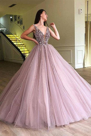 A-line Elegant Sparkly Gorgeous Princess Prom Gown,Stunning Tulle Prom Dresses N1251