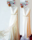 Flowing V-Neck A-Line Split Wedding Dresses With Lace, Beach Wedding Dress with Beads N958