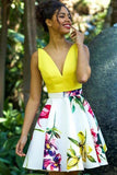 A Line Yellow V Neck Floral Print Homecoming Dresses, Cute Short Prom Dress