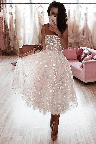 Ivory Spaghetti Strap Tea Length Starry Tulle Homecoming Dress, Party Dress N1885