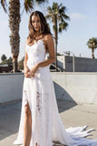 Bohemian Wedding Dresses, Cheap Spaghetti Straps Long Beach Wedding Gown