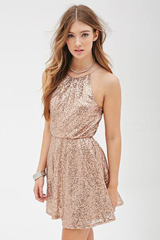 A-line Spaghetti Straps Sleeveless Sequined Mini Homecoming Dress,Sparkly Party Dresses,N350