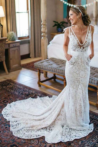 Mermaid Deep V Neck Beach Wedding DressSleeveless Ruched Lace Bridal Dress N95