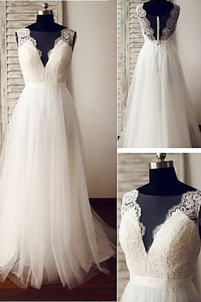 V-neck Beach Wedding Dress,Ivory Tulle Lace Appliqued Wedding Gown,A-line Bridal Dresses,N159