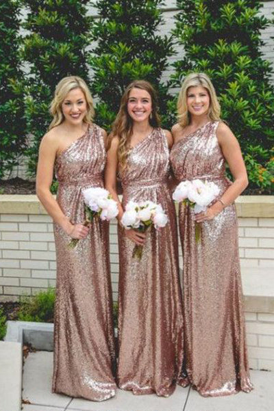 Shiny One shoulder Rose Gold Column Sequined Bridesmaid Dresses,Floor-length Prom Dress,N424