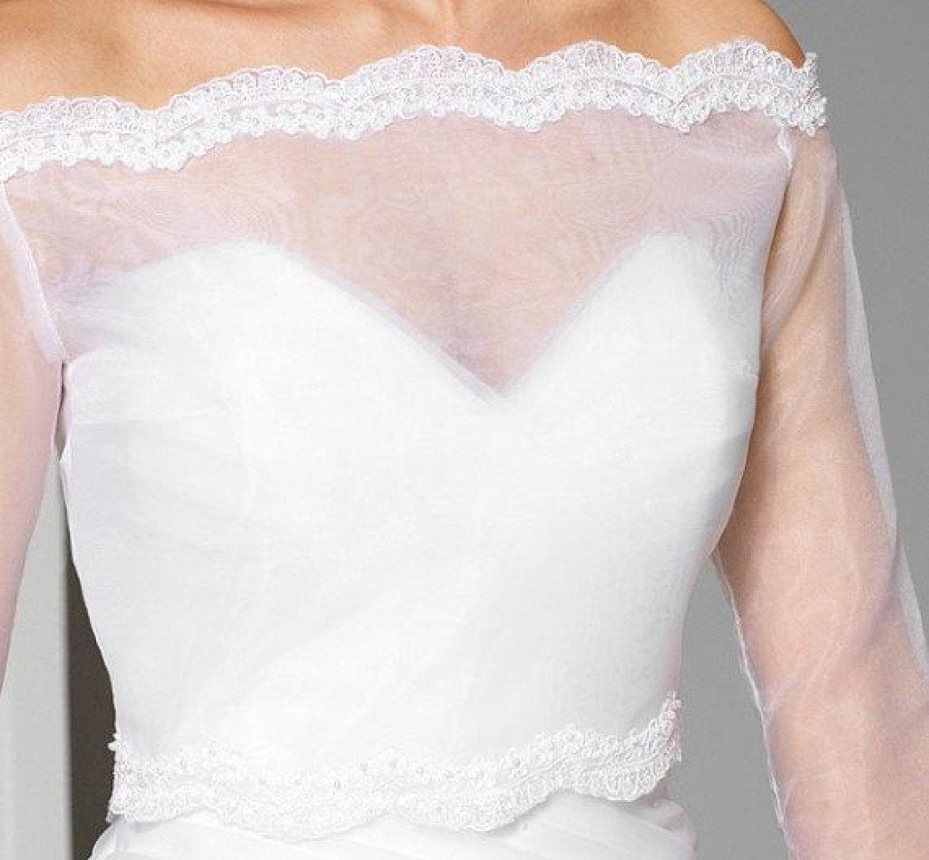 Off the Shoulder Sheer Organza 3/4 Sleeve Bridal Cape Scalloped Lace Top JK013