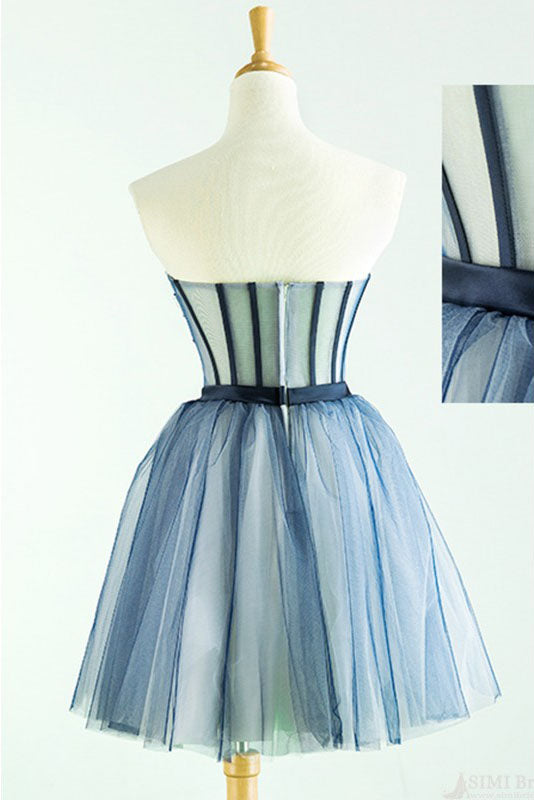 Cute Sweetheart Tulle Homecoming Dress with Beads, A Line Appliqued Short Prom Dress N1023