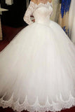Ball Gown Long Sleeve Wedding Dress with Lace, Off the Shoulder Tulle Bridal Dress N1113
