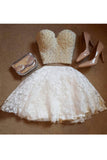 Two Piece Sweetheart Beaded Lace Homecoming Dress, Mini Cute Prom Gown N855