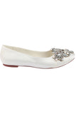 Ivory Flat Wedding Shoes with Crystal, Satin Wedding Party Shoes with Beads, Fashion Shoes L-930