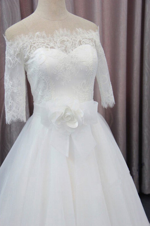 A Line 3/4 Sleeves Tulle Wedding Dress with Flowers, Fluffy Off Shoulder Bridal Dress with Lace N963