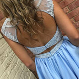 Ice Blue Beading Satin Sleeveless Open Back Homecoming Dress,Sparkly Prom Gown with Pockets,N360