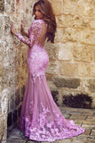 Mermaid Prom Dress,Long Sleeve Sweep Train Purple Tulle Appliques Prom Dresses,Backless Prom Dress N54
