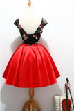 Black and Red Satin Homecoming Party Dresses with Applique, A Line Short Prom Dress N1014