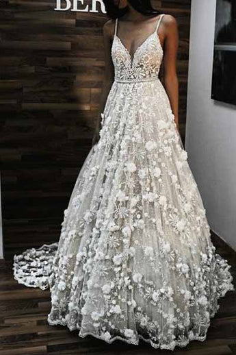 Charming V Neck Spaghetti Straps Lace Backless Long Wedding Dress