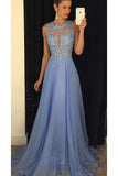 Cheap Lavender A-line Sleeveless Chiffon Prom Dress with Lace Rhinestone,N744