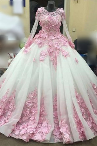 Ball Gown New Style Long Sleeve Tulle Prom Dress with Pink Flowers, Ivory Wedding Dress N1311