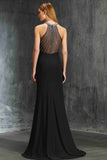 Elegant Black Sheath Jewel Beading Sleeveless Floor-length Evening Dress,Prom Gown,N586