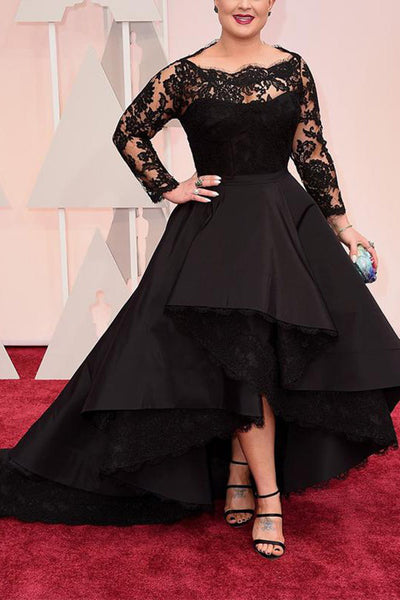 Black Plus Size Prom Dress, High Low Long Sleeve Evening Dress with Lace
