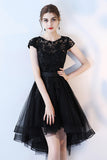 Black High Low Prom Dress, A Line Tulle Black Dress with Lace, Cap Sleeve Homecoming Dress