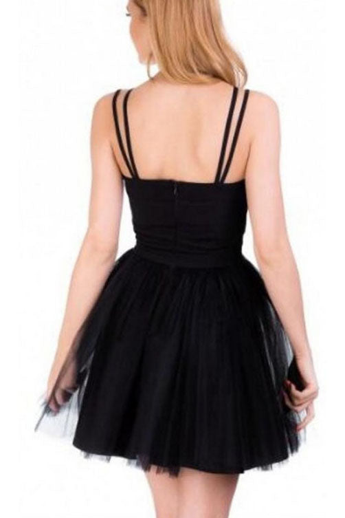 A Line Sexy Straps Tulle Pink Homecoming Dress, Cute Short Tulle Prom Dress N912