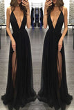 Sexy Spaghetti Straps Deep V-neck Sleeveless Black Prom Dress,Tulle Prom Party Dress,N515