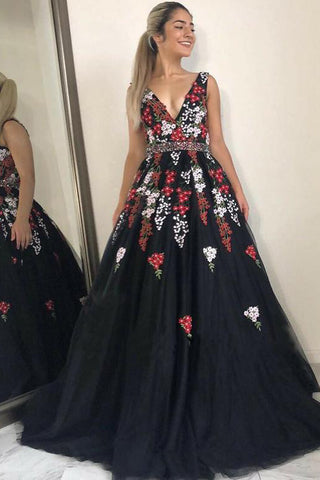 e6d6468f2a0 Stunning V-Neck Black Evening Dress with Appliques Beading Sleeveless Long  Prom Dress N1445