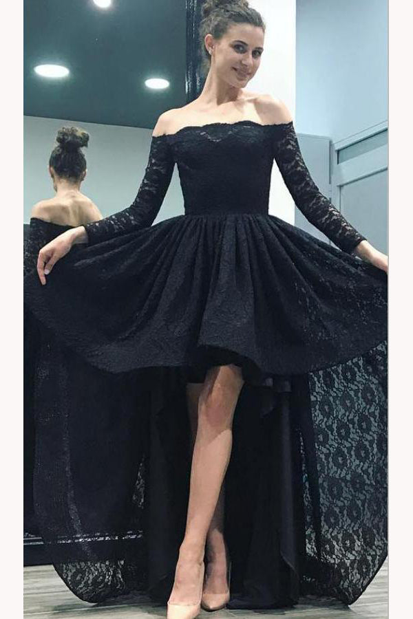 High-Low Black Off the Shoulder Long Sleeves Lace Prom Dress,Sexy Lace Party Gown,N724