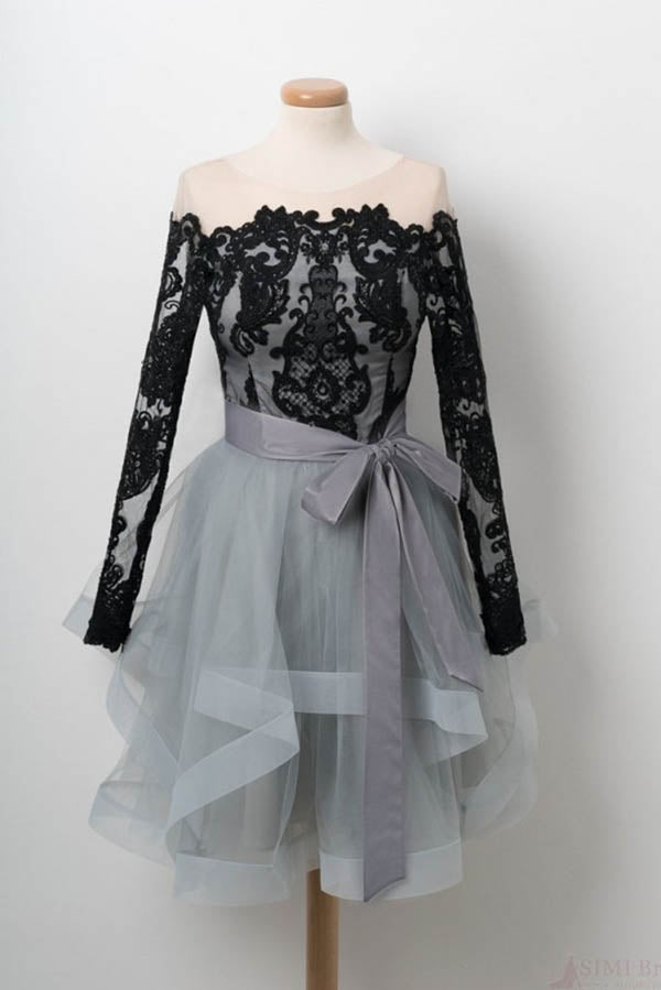 Black Lace Homecoming Dress, Long Sleeve Tulle Short Graduation Dresses N1040