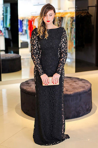 Elegant Black Long Sleeves Backless Floor-length Bateau Lace Plus Size Prom  Dress,N541