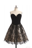 A Line Sweetheart Lace Homecoming Dress, Black Short Strapless Prom Dresses