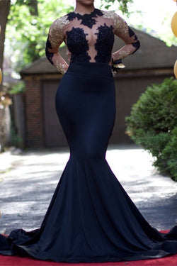 0cee81dbe62 Black Mermaid Long Sleeves Gold Lace Appliques See Through Prom Evening  Gowns