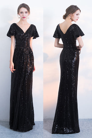44154ad5b1252 Black Sparkly Sequined Evening Dresses with Short Sleeves, Long Prom Dress  with Pleats N1418
