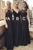 Simple Multi Style Floor Length Black Bridesmaid Dress with Lace Beading N800