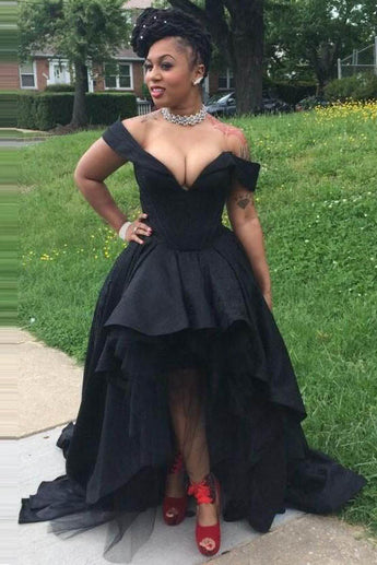 Sexy Black Off the Shoulder V Neck High Low Prom Dresses,Party Graduation Gowns,N707