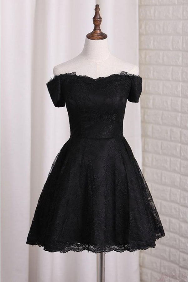Black Off Shoulder Lace Homecoming Dress, A Line Cheap Short Graduation Dresses