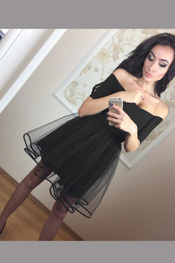 Black Off Shoulder Tulle Above Length Homecoming Dress, Simple Short Prom Dresses