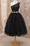 A Line One Shoulder Black Tulle Short Homecoming Dresses with Belt, Short Prom Dresses