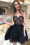 Black Straps Sweetheart Lace Appliques Short Homecoming Dress,Cheap Mini Cocktail Dress N866