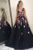 Black V Neck Long Prom Dress, A Line Tulle Sleeveless Appliqued Evening Dress N1477