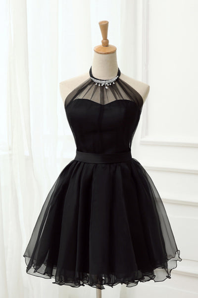 Black Halter Sleeveless Short Tulle Homecoming Dresses, Cute Little Black Short Prom Dresses N1938