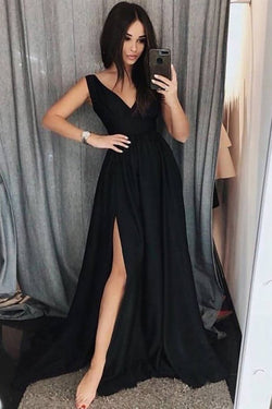 Custom Made Black Prom Dress, A Line Simple V Neck Formal Dress with Side Slit N1604