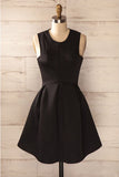 Simple Satin Short Homecoming Dress, Cheap Black Sleeveless Mini Prom Dresses