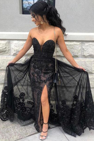Black Sweetheart Tulle Prom Dress with Lace Appliques, Long Strapless Split Formal Dress N1895
